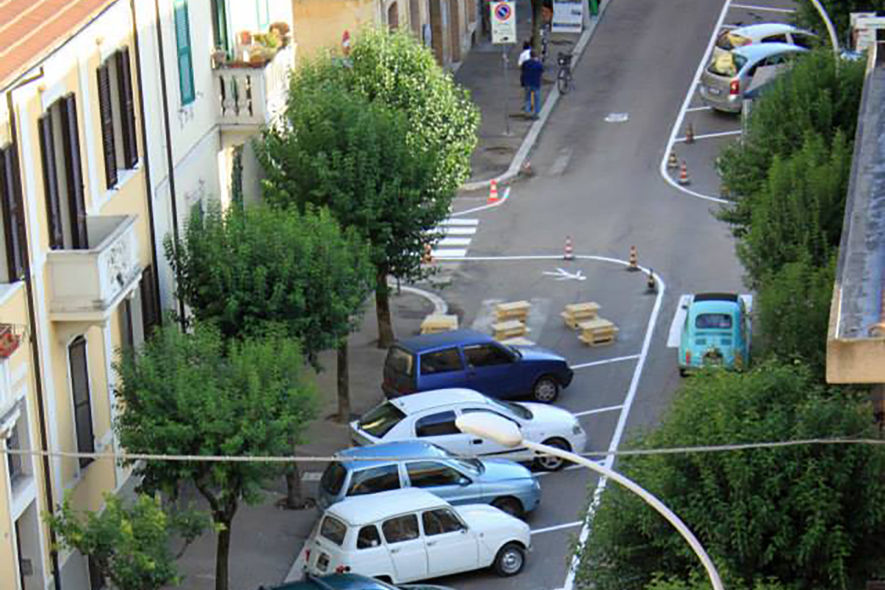 Terni - la chicane all'incrocio ripresa dall'alto